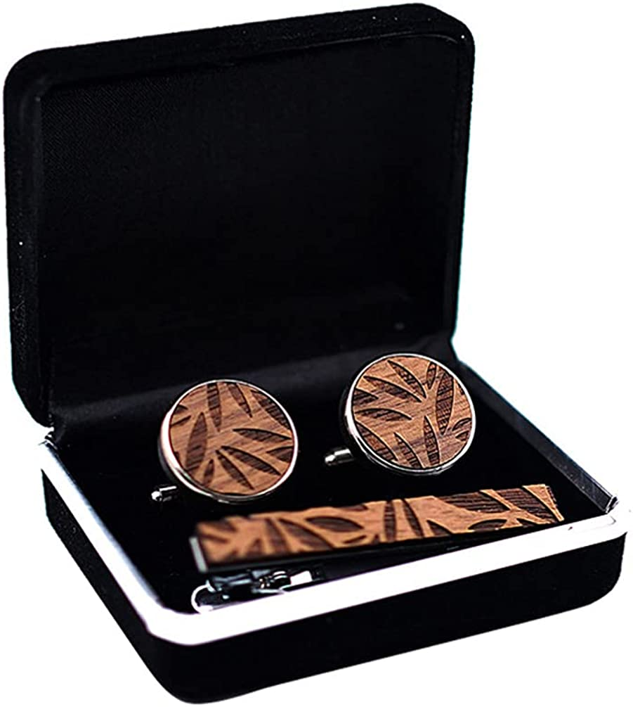 KESYOO Tie Clip and Cufflink Set Working Functional Clothes Cuff Studs Dress Coat Lapel Pin Shirt Sleeve Button for Mens Wedding Business Classic Accessories Light Brown