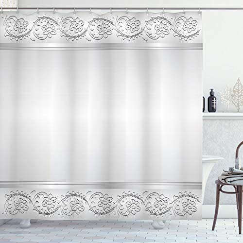 ABAKUHAUS Retro Cortina de Baño, Nupcial clásica del Adorno Floral, Material Resistente al Agua Durable Estampa Digital, 175 x 200 cm, Blanco y Gris