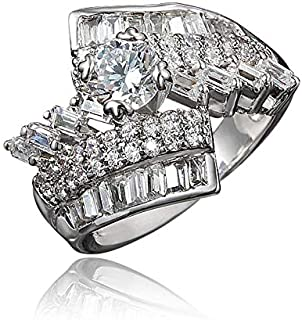 Gold Womens Girls Band Ring for Wedding Promise Engagement Copper Cubic Zirconia Ring