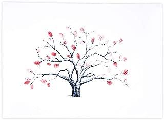 Arbol de huellas, Libro de visitas de la firma de la lona del árbol de la huella digital de la boda de DIY con tinta de 6 colores para la fiesta de cumpleaños de la boda(HK001)