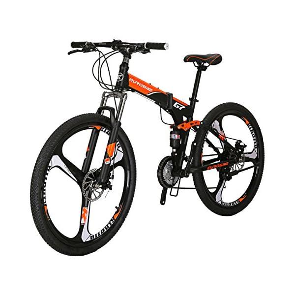 Folding Bikes Eurobike G7 Mountain Bike 21 Speed Steel Frame 27.5 Inches 3-Spoke Wheels Dual Suspension Folding Bike Blackorange 21 speed mountain bike