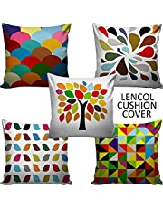Lencol Jute Cushion Cover 16x16 Set of 5 with Digital Print in Multicolor
