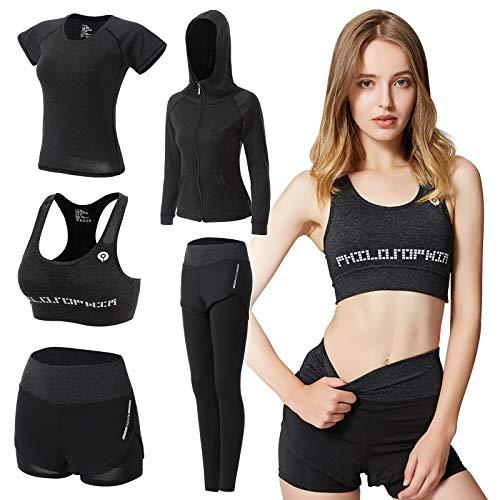 ODWTMRK Conjunto Deportivo Mujer Fitness, 5 Piezas Ropa Deportiva Mujer Gym Conjuntos de Yoga Running Training Estiramiento Ropa de Gimnasio(Negro-B,XL)