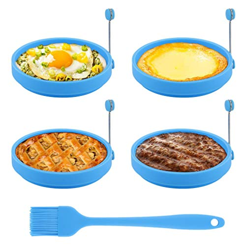 Egg Ring, TGJOR Egg Cooking Rings, Round Pancake Mold, Non Stick Silicone Ring for Eggs, 4 Pack Reusable Fried Egg Mold with an Oil Brush (Blue)