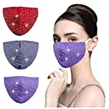 8Rhinestone Face Cloth Mask Reusable Breathable Washable Glitter Bling Sparkly Diamond Designer Cute for Women Adjustable Gray Purple Red Cotton Beauty Gift Best Sequined 3 Layer
