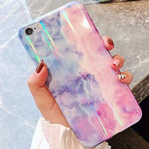 Uposao Compatibile con iPhone 6 Plus 6S Plus Custodia per Cellulare in Silicone TPU in 3D Marmo Modello Lucido con Glitter Cover Protettiva Trasparente Colorato Gel Soft Gomma Antiurto,Light Purple