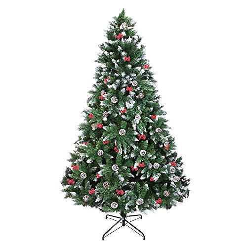 FLOFIA Albero di Natale 150 cm con 39 Pigne Bacche Rosse Albero di Natale Innevato Artificiale con 620 Rami Realistico Folto Pieghevole per Casa Ufficio Decorazione Natalizia