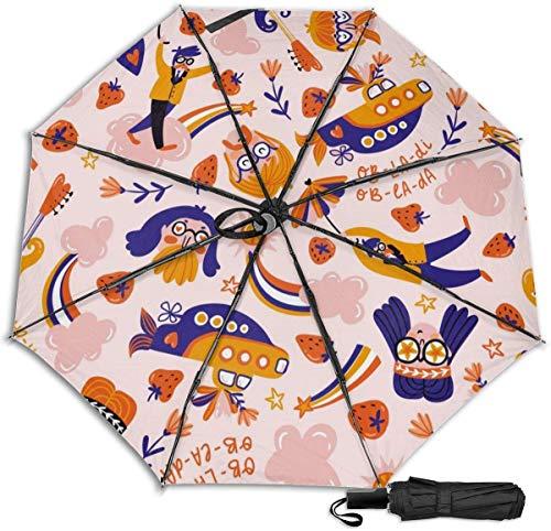 Paraguas de viaje a prueba de viento Protección UV (Dreamers en las nubes rosas)