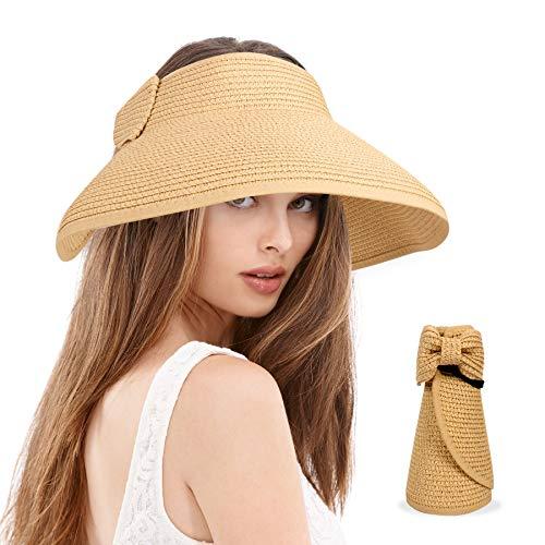 BLURBE Grande Mujer Sombrero de Paja de Visera Plegable - Sombreros de Verano con Lazo para la Playa de Sol,para Hacer Senderismo Proteccion Solar (Café Ligero)