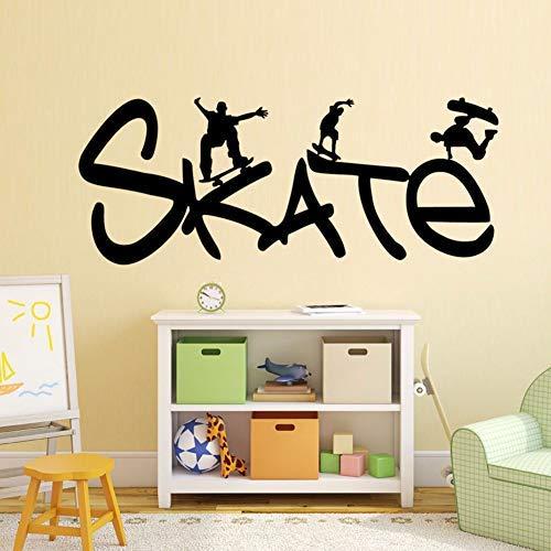 Etiqueta de la pared de patinaje Skate Sports Etiqueta de la pared Decoración para el hogar Pegatinas de pared de vinilo para niños Dormitorio Mural