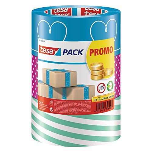 tesa - buntes Packband Klebeband Packetklebeband Verpackungsband in verschiedenen bunten Designs für Geschenke/ 3 Rollen a 25m x 50mm