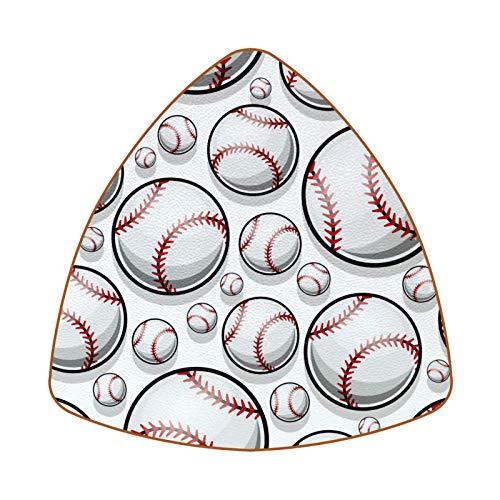 Juego de 6 posavasos de piel, antideslizantes, para el hogar y la cocina, pelota de béisbol, color blanco