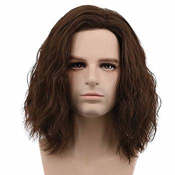 Karlery Men Fluffy Short Curly Brown Wig Halloween Cosplay Wig Anime Costume Wig  1
