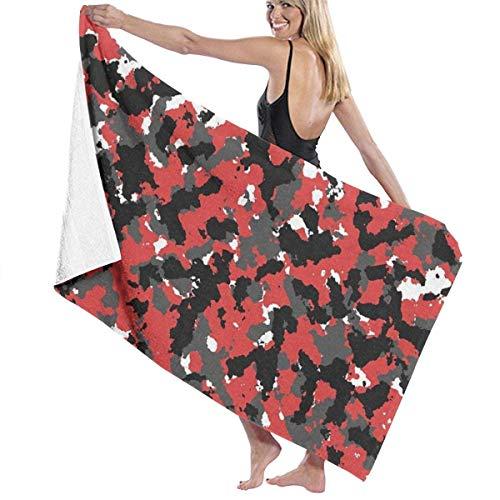 PageHar Toalla de Playa de Microfibra para Adultos con Camuflaje Urbano Rojo, Grande, 31x51 Pulgadas, Toalla de baño de Uso Multiusos Altamente Absorbente de Secado rápido para Mujeres y Hombres