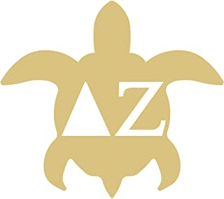 Turtle with Greek Letters Delta Zeta Cutout Unfinished MDF Wood Cutout MDF Shape Canvas Style 1