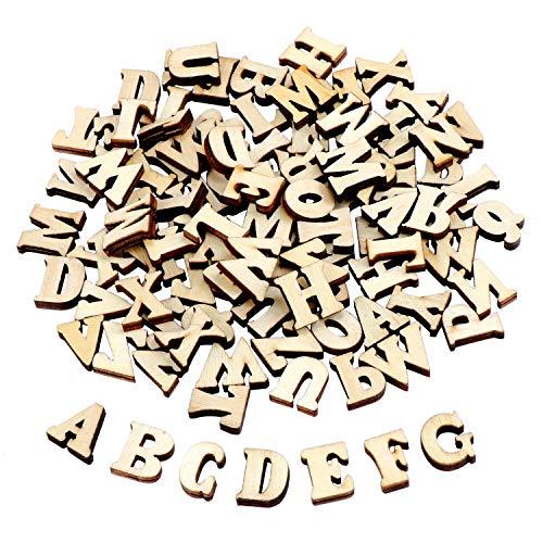 TsunNee, lettere dell'alfabeto in legno per decorazioni fai da te, per scrapbooking, matrimoni, feste di Natale, decorazioni artigianali, confezione da 200