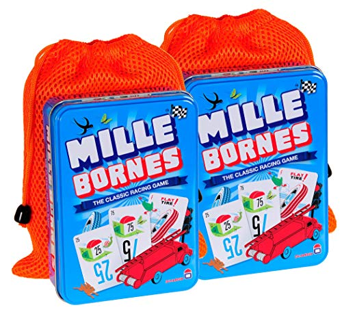 Mille Bornes Card Game in Tin || Bundle of 2 || with 2 Orange Mesh Drawstring Storage Pouches || Bundled Items
