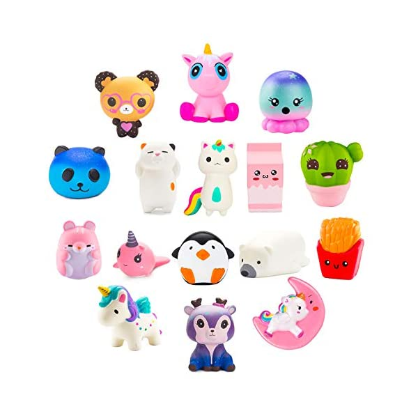 BeYumi Slow Rising Toy, Unicorn, Panda, Deer, Cat Squishy Toy, Kawaii Jumbo 10 Pcs Cream Scented Simulation Cute Animal & Food Squeeze Toys for Collection Gift, Decorative props Large or Stress Relief 3
