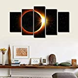 LWJPD Cuadro en Lienzo 5 Partes Eclipse Lunar Eclipse Mural De Sala De Estar Imagen De Paisaje Abstracto Eclipse Lunar Eclipse Póster Y Mural De Grabado Regalo Sin Marco 60 Inch