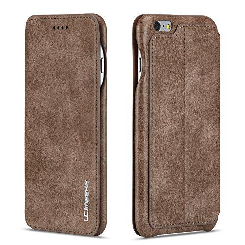 QLTYPRI Hülle für iPhone 6 Plus 6S Plus, Ultra Dünne Ledertasche Magnetische Handyhülle mit Kartenfach Standfunktion Flip Schutzhülle Kompatibel mit iPhone 6 Plus 6S Plus - Kaffee Braun