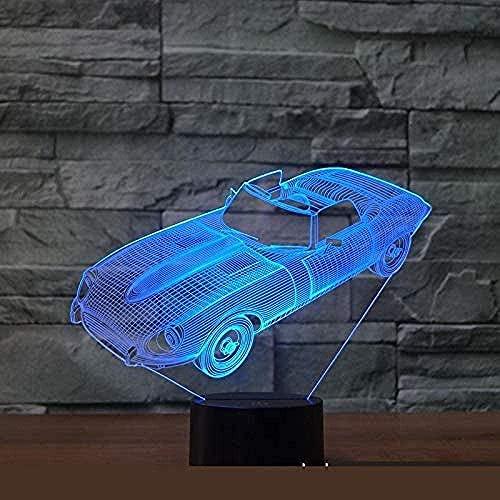 Lámpara de luz 3D 7 colores carUSB Powered 7 colores Interruptor táctil intermitente Iluminación de decoración de dormitorio-16 color remote control