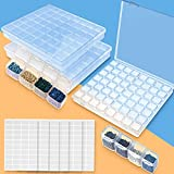 5D Diamond Painting Accessories-3 Pack 56 Grids Clear Diamond Painting Storage Container with 400pcs Label Stickers for Bead Storage,Sewing, Nail Diamonds,Embroidery Boxes Organizer