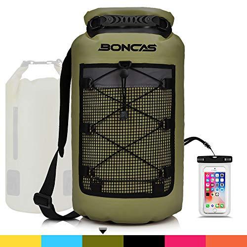Boncas Waterproof Backpack, 20L Dry Bag with Waterproof Phone Pounch, Roll Top Bag Dry Sack Waterproof Dry Bag Perfect...