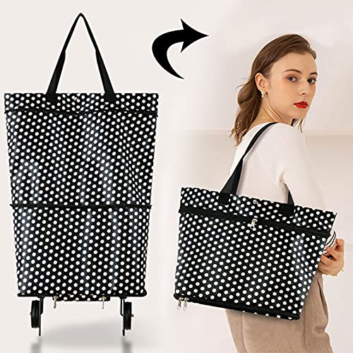 Faltbare Trolley-Taschen, faltbare Einkaufstasche mit Rädern, faltbarer Einkaufswagen, wiederverwendbare Einkaufstaschen 2–1 Einkaufswagen für Zuhause, Supermarkt, strapazierfähige Tasche