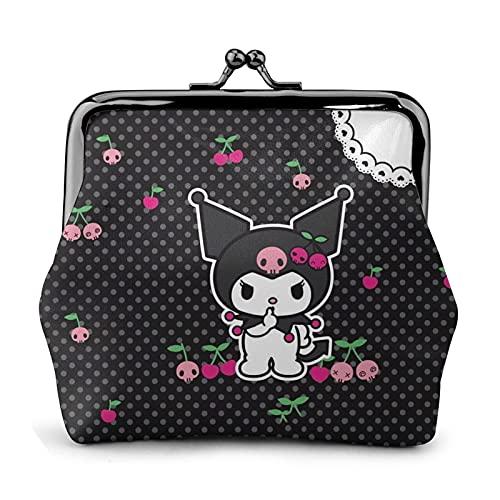 Hello Kitty Kuromi - Monedero de piel con hebilla de flor retro para correo, con cierre de beso, bolsa de regalo para cosméticos