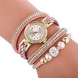 Uhren D249 Woven Verdrehte Perlen Runde analoge Quarz-Handgelenk-Armband-Uhr for Damen (weiß) Asun (Color : Creamy-White)