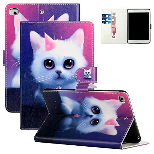 Coopts iPad Mini 5 Case, iPad Mini 4 3 2 1 Case with Stand, Full Body Shockproof Auto Sleep Wake Card Pocket 7.9' Flip Case for iPad Mini 5th Gen 2019/ Mini 4/ Mini3/ Mini2/ Mini 1, Cute Kitten