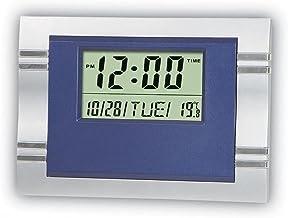 Relógio de Mesa Digital Retangular Azul 20X15 Com Alarme
