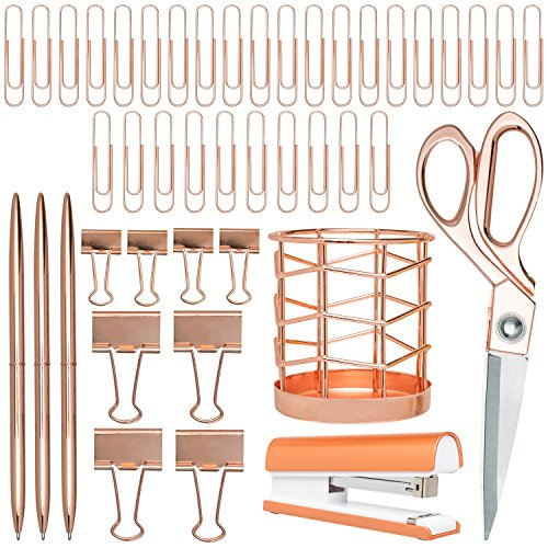 Rose Gold Desk Accessories | 7 Desktop Essentials (44 Items...
