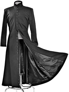 matrix neo long black leather coat