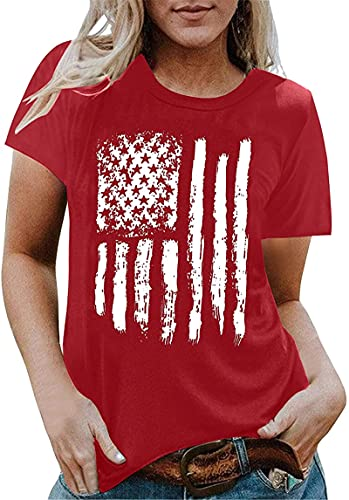 4th of July Shirts for Women,Womens T Shirts Flag Print Casual Crewneck Short Sleeve Summer Tops Blouse
