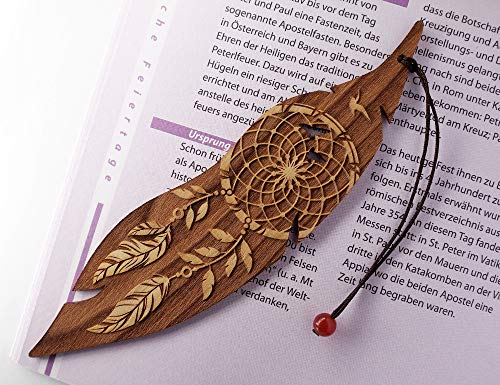 Lesezeichen aus Holz, Traumfänger, MinaturArt