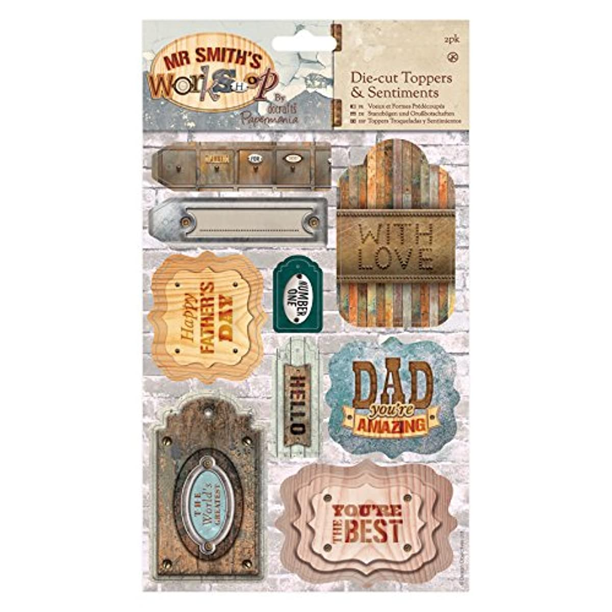 DOCrafts Papermania Mr. Smith's Workshop A5 Die-Cuts 2/Sheets-Toppers & Sentiments