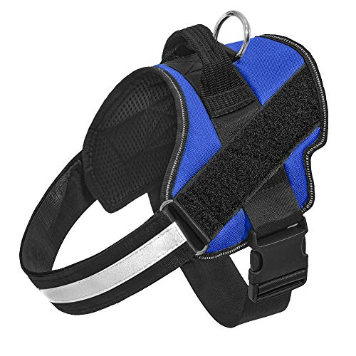 Orinci No Pull Dog Harness for Dogs Adjustable Soft Breathable Padded Pet Vest Reflective Walking Pet Halters with Easy Control Nylon Handle (XL, Blue)