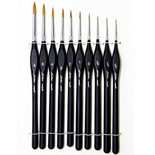 Detail Paint Brushes Set 10 Sizes Siberian Kolinsky Red Sable Hair Triangular Wooden Handle
