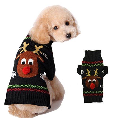 ABRRLO Hunde Kostüme Hundebekleidung Baumwolle Pullover feiern Weihnachten-Tag Winter Mantel Strickpullover Haustier Hund Pullover Haustier Kostüm Fashion Urlaub Party Geschenk(XS, KitzE)