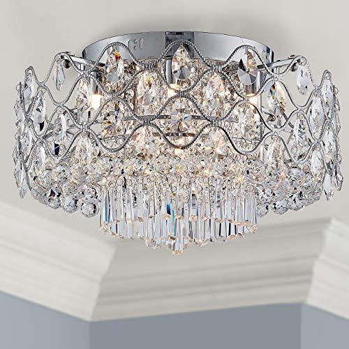 Bestier Modern Elegant Crystal Deckenleuchte Drum Chandelier 9-Licht Chrom Unterputz LED-Leuchte Dia 48 cm x H 43 cm