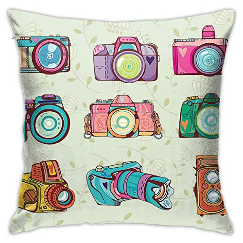 Moily Fayshow Color Camera Vintage Pillow Covers Musical Note Inspirational Words Home Decorative Pillowcases Retro Cushion Covers 55X55 Cm