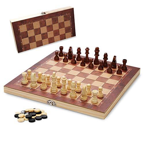 Hengda 3 EN 1 29*29cm Tablero Ajedrez de Madera Plegable Juego de ajedrez para niños y Adultos Damas Backgammon en Estuche