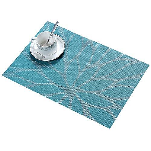 moonlux Platzset Abwischbar 30x45cm 6 Stück, Platzdeckchen Tischset Abwaschbar rutschfest PVC Abgrifffeste Hitzebeständig Tischmatten(Blau)