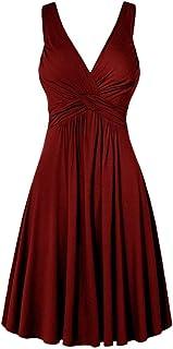 comprar comparacion Reooly Vestido de Noche con Cuello en V XL Falda Acampanada Plisada Falda Acampanada Plisada Mujer Vestido de Color sólido...
