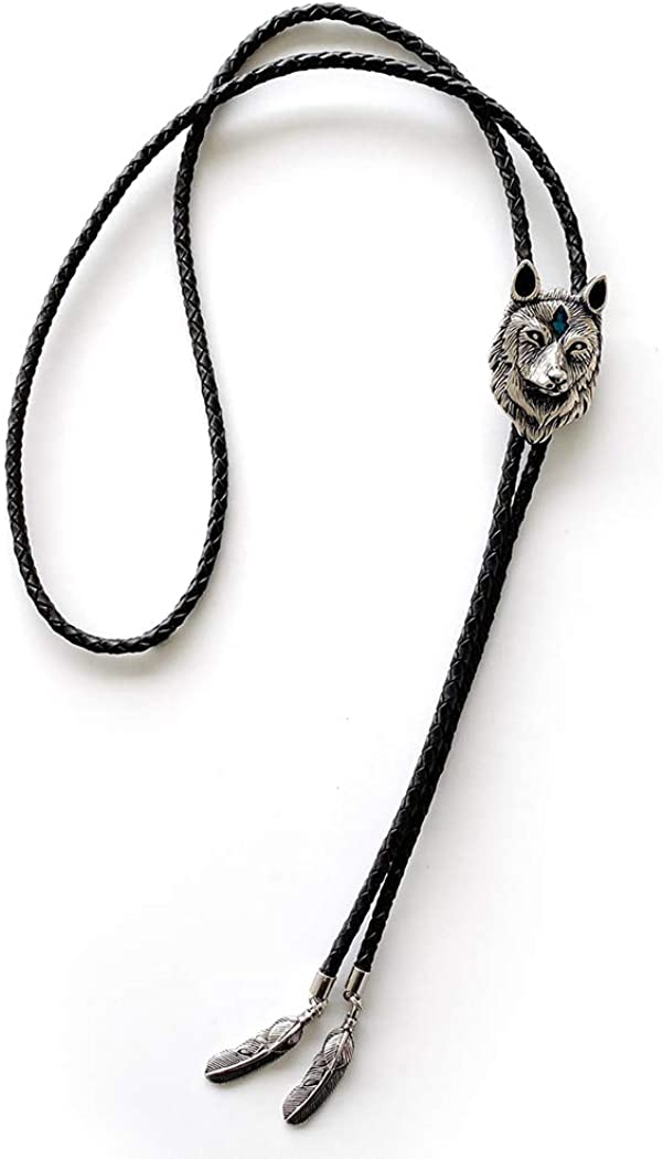 Vintage Style Stainless Steel Blue Sales results No. 1 Enamel Max 54% OFF Bolo Tie Wolf