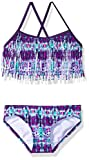Kanu Surf Girls' Big Kelly Beach Sport Fringe 2-Piece Bikini Swimsuit, Kayla Purple Tie-Dye, 12