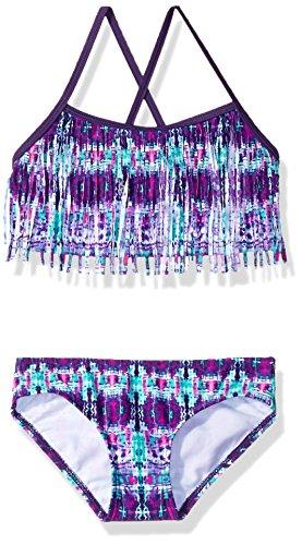 Kanu Surf Girls' Little Kelly Beach Sport Fringe 2-Piece Bikini Swimsuit, Kayla Purple Tie-Dye, 6X