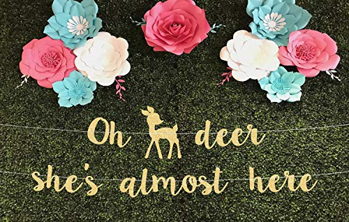 Oh Deer Baby Shower Decoración para baby shower oh Deer Shes Near Here Banner Baby Shower Girl Baby Shower Banner Oh Deer Baby Shower Oh Deer Baby Shower Oh