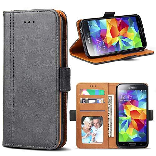 Bozon Galaxy S5 Hülle, Leder Tasche Handyhülle für Samsung Galaxy S5 (S5 Neo) Schutzhülle Flip Wallet mit Ständer & Kartenfächer/Magnetverschluss (Dunkel-Grau)